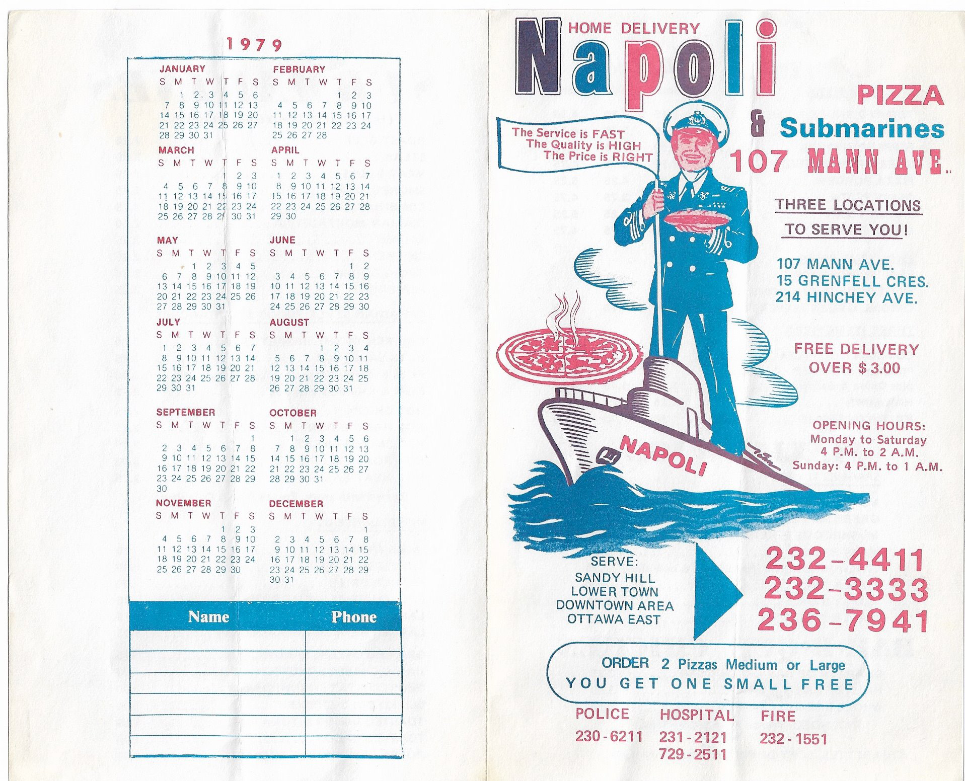 1979 Calendar August.1979 Flyer From Napoli S On Hinchey Ave Kitchissippi Times